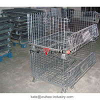 Stackable collapsible pet preforms wire container/wire cages for storage