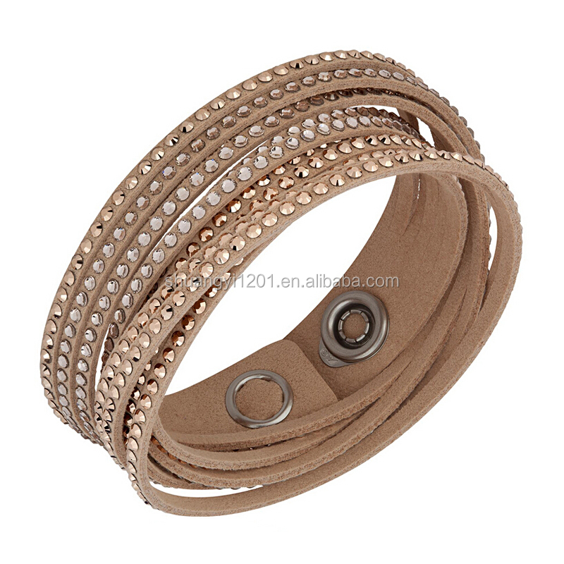 Shine crystal leather silk bracelet full rhinestones jewelry with button multilayer
