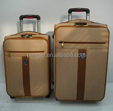 2015 new design business PU leather travel trolley luggage bag