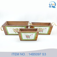 French Style Wooden Flower Pot Carrier