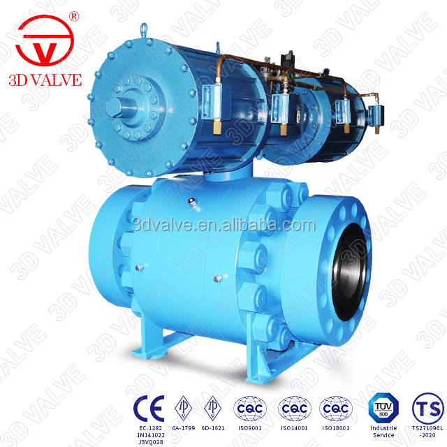 3DV Industrial Oil Refinery Forged Steel 3pc Trunnion Mounted pneumatic ball valve