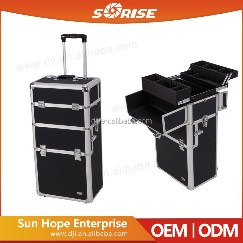 promotion high quality rolling makeup cosmetic trolley multilayer drawers train case with wheels