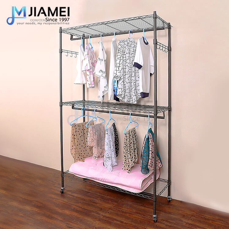 Rolling 3 Tiers Clothing Shelving (JCL184880)