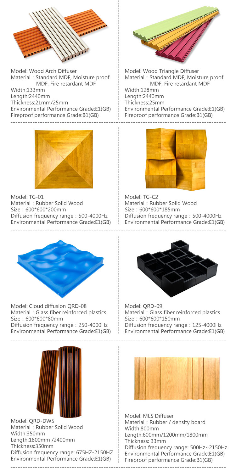 MDF 3D acoustic wall panel wooden sound diffusor of cinema
