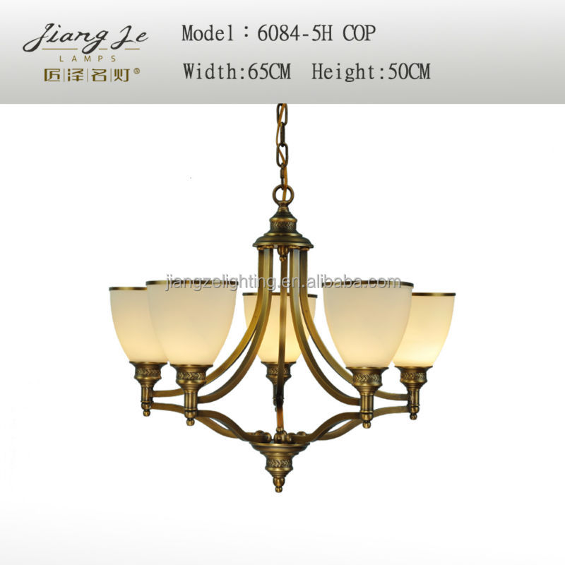 High quality copper chandelier light &Decoration antique copper brass chandelier light for indoor made in China 6084-5H copper
