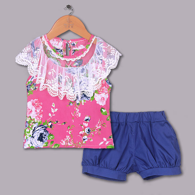 2015 Summer Girl Clothing Set Hot Pink Flower T Shirt And Blue Shirts Girls Clothes Sets Grace Kids Suits Kids Wear CS40420-28