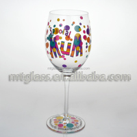 FDA,Eco-friendly,hand paint stem drinking glass,birthday party use wine glass