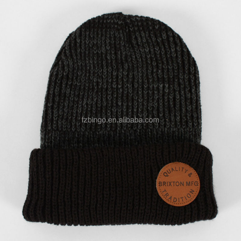 Small order accept custom reggae knit beanie with leather patch