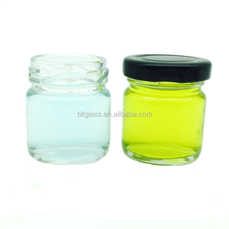 40ml high quality clear round mini airless baby food jam glass jar lid