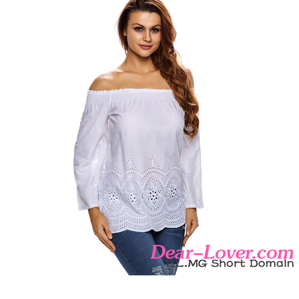 White Off Shoulder Flared Sleeves design for formal blouses pictures