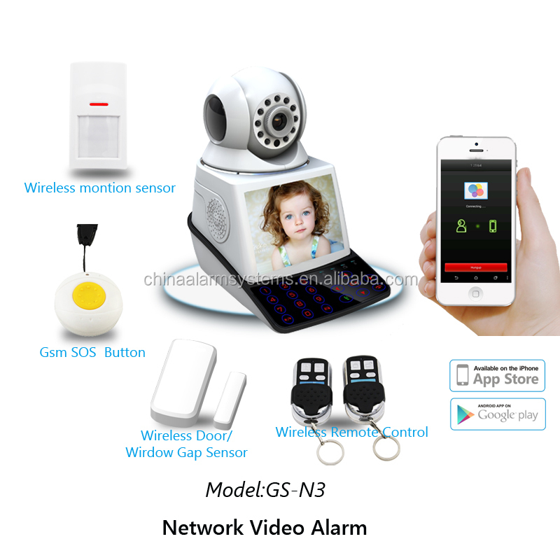 2016 hot selling multi-language alarm system & wireless security P2P PnP wireless digital alarm ptz ip camera with LCD DISPLAY