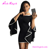 Black flare sleeve women chiffon party sexy short tight mini dress