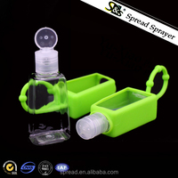 30ml 1oz hand sanitizer silicone holder case, PET bottle with flip top cap, wholesale mini pocket hand sanitizer