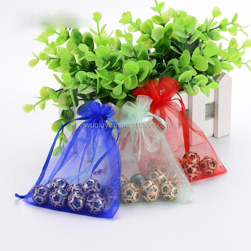 Mixed Color High Quality Wedding Gift Wrapping Drawstring Candy Organza Bag