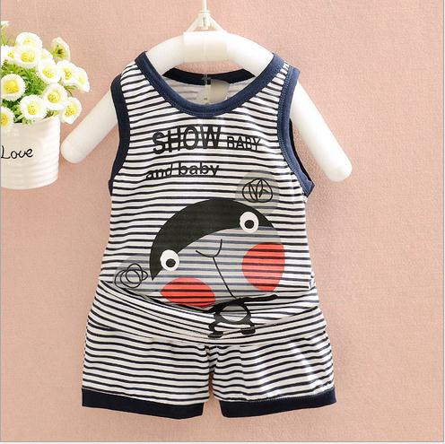 Hot Selling Wholesale s kids printed sleeveless tops+ shorts suit baby Clothing Sets