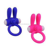 New 2015 Rabbit Ears Adut Man Toys Vibrating Silicone Penis Cock Rings