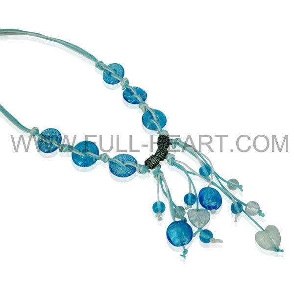 Elegant Chunky Layered Blue Beads & Rhinestone Statement Necklace