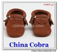COBRA only supply high quality soft sole leather baby moccasins shoes without the characters on them with fringe on them