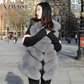 CX-G-B-04C China factory supply high quality fluffy and soft women's long real fox fur vest