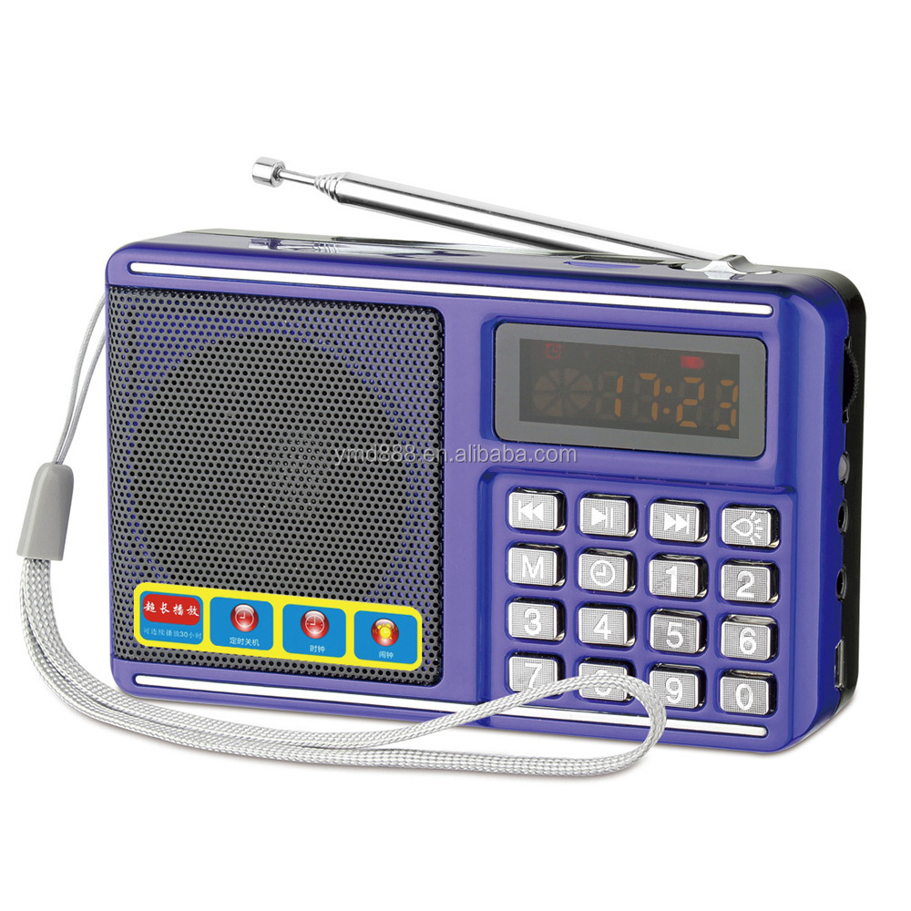 Pocket digital clock fm radio speaker with usb tf card slot