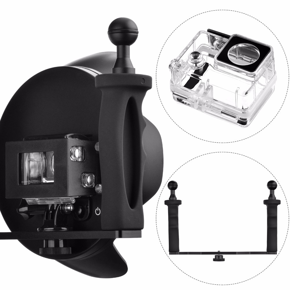 SHOOT 6 inch good quality Dome Port with handheld stabilizer for gopro Hero 3+/4
