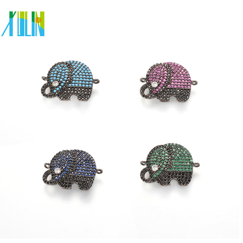 Fashion Diamond Pave Elephant ECO-Friendly Elephant Shape Micro Pave <strong>Charm</strong>, CZ Connector, 4 Colors, ICSP037, Size 22.5*18.3mm
