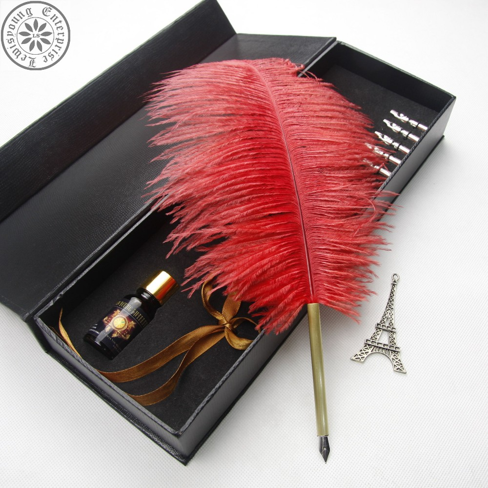 Unique design ostrich feather dip pen with ink gift set patent product 25ml ink bottle metal pen barrel