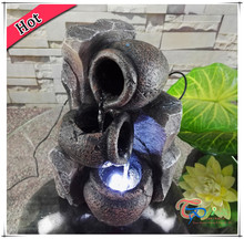 Artificial stone Home Decoration Resin LED Mini Indoor Pots Tabletop Waterfall Fountain