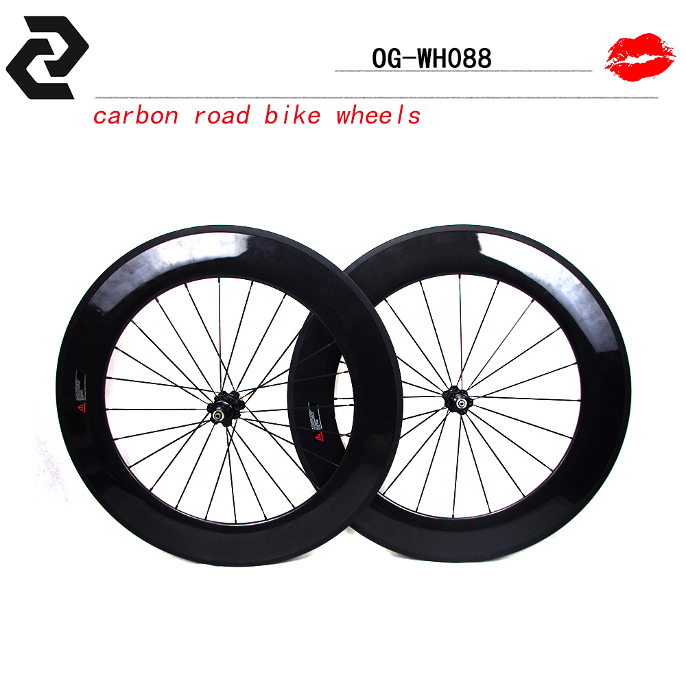 2017 Chinese Newest product popular carbon road bike wheelset 291 hub with Aero flat spoke 88mm depth Quick Release