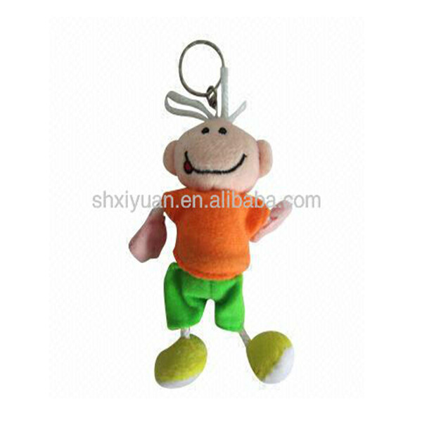 Hot selling popular cute girls key chain/small doll toys/soft toy keychain