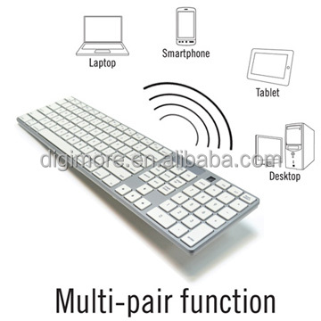 Full Size Wireless Bluetooth Mac Compatible Keyboard, Multi-host Switchable for IOS & Android