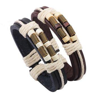 A&J Excellent after-sales service devotional anchor leather bracelet,delicate mens leather bracelet, leather wrap bracelet.