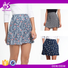 2016 GUangzhou Shandao Custom Logo Women Summer Casual Short Ruffle Printed Cotton Sexy Skirt Made In Thailand