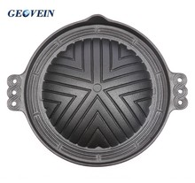 Cast iron bbq gas double sided grill pan korean bbq grill plate