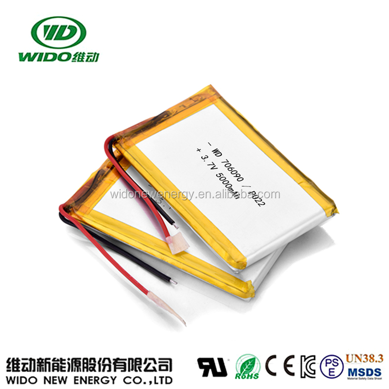 5000mAh lithium polymer battery rechargeable 708090 3.7V with pcb protection
