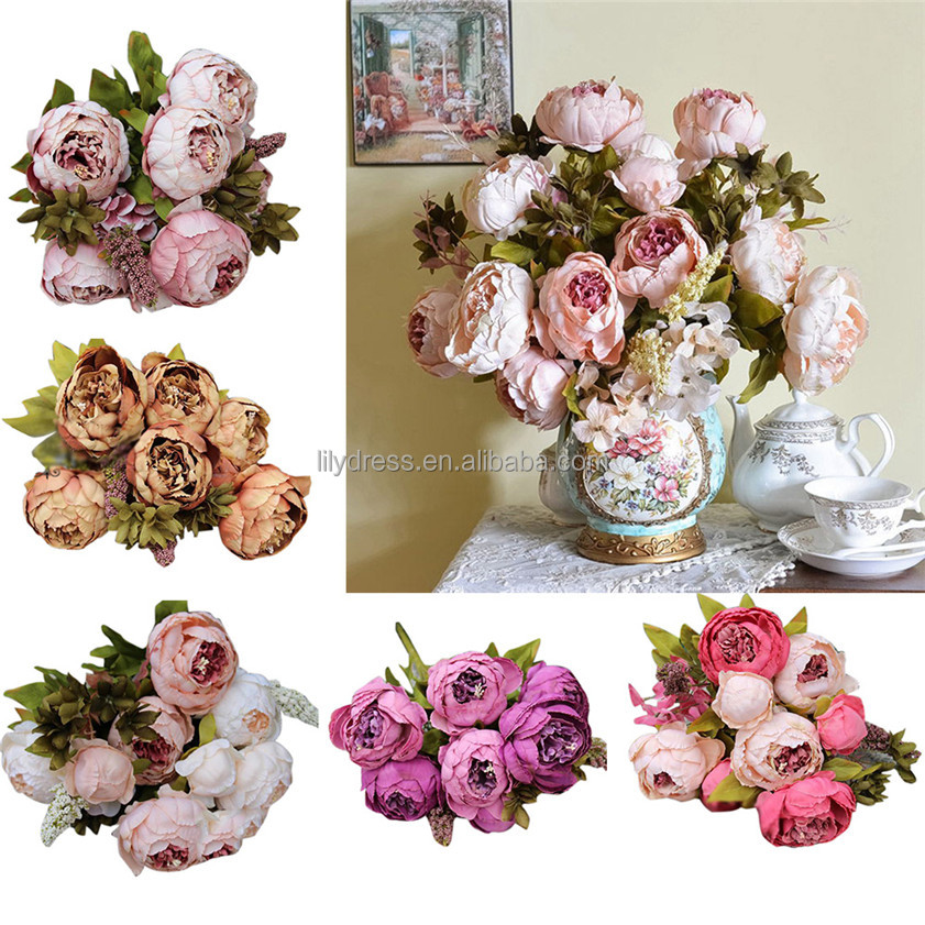 FO008 High Quality silk flower European 1 Bouquet Artificial Flowers Fall Vivid Peony Fake Leaf Wedding Home Party <strong>Decoration</strong>