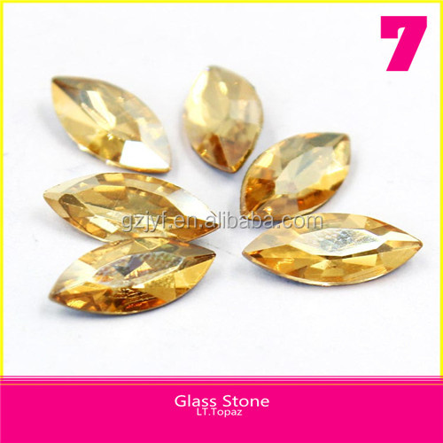 Without hole pointback Horse Eye Crystal Rhinestone LT.Topaz Glass Stone For Dress