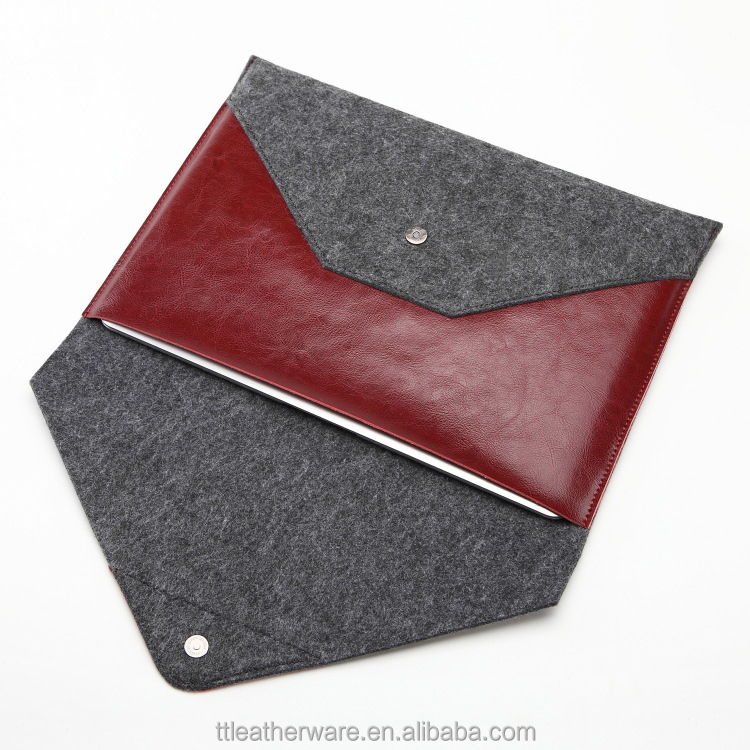 Embossed Logo Felt Sleeve for Ipad Cow Leather Envelope Case