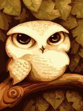 2015 new naturel abstract oil canvas painting by numbers with animal owl picture design GX6732