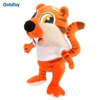 New design custom stuffed soft plush tiger doll with t-shirt