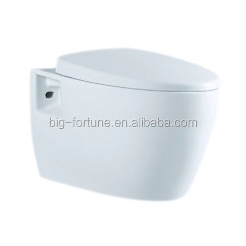 Sanitary ware soft close wall hanging rimless toilet