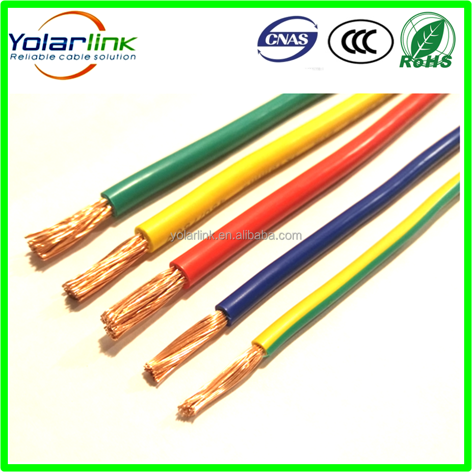 PVC plastic coated copper stranded solid electric wire cable 2.5mm 4mm 6mm 10mm