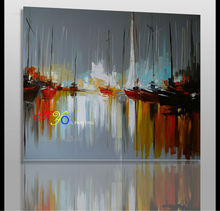 abstract port sailing scenery oil painting on canvas