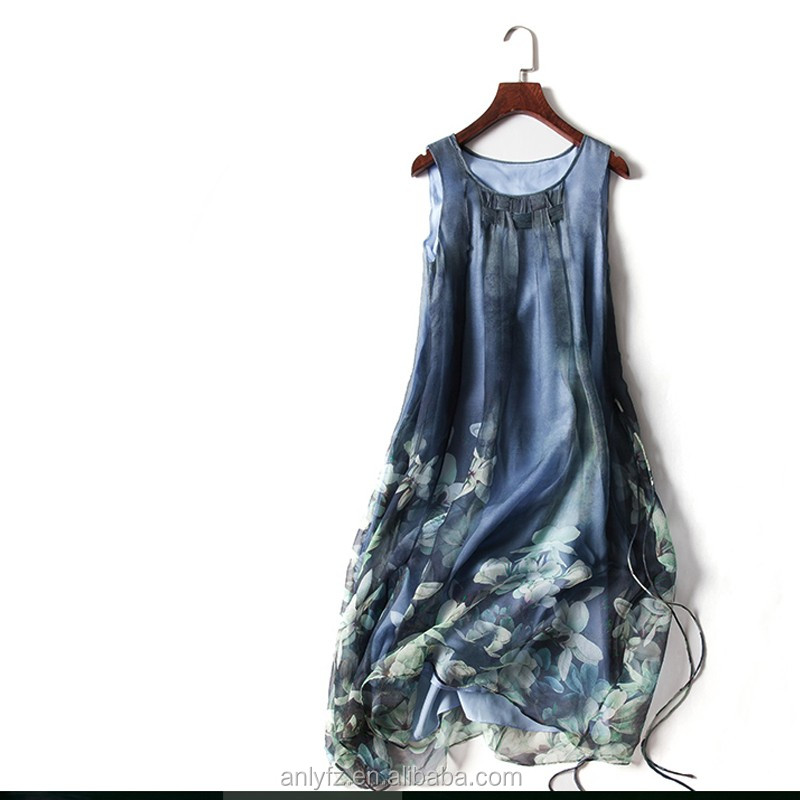 Best selling products organza splicing long dress pictures of latest gowns designs printing women fashion prom dress clothing