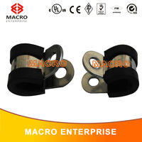 pipe clamp 16mm rubber lined P clip cable clamp