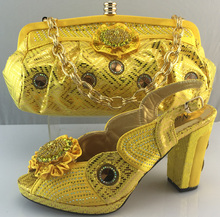 AB6194#4 Yellow design matching sandals and bags african shoes and bags2016