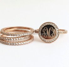 Rose Gold Ring Set, Monogram Stacking Ring Personalized, Monogrammed Ring CZ