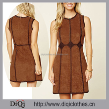 Diamond Pattern Knit Trim Faux Suede Mini Dress Vestidos,Chic Suede Dress Clothes Women