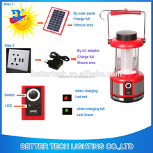 Red body material Rechargeable Camping Solar LED Lantern with mobile phone charger and 3W plastic solar panel