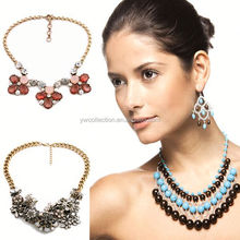 High end crystal statement necklace,thai silver jewelry,chain necklace in roll